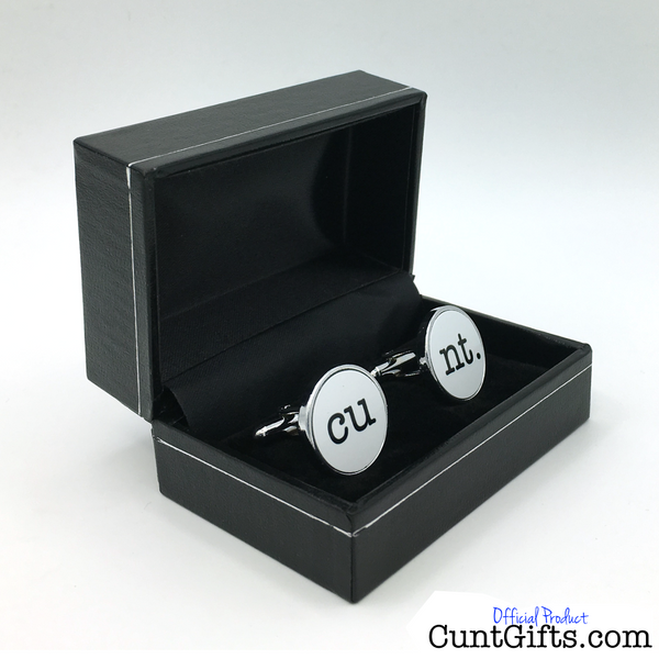 """cu"" ""nt."" - cunt Cufflinks in White"