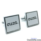 cunt - White Cufflinks Square unBoxed