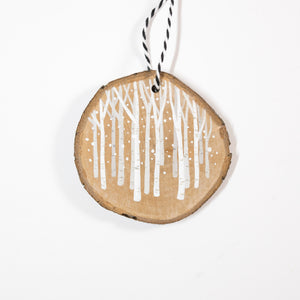 Birch Woods (A) - Hand Painted Wood Slice Ornament