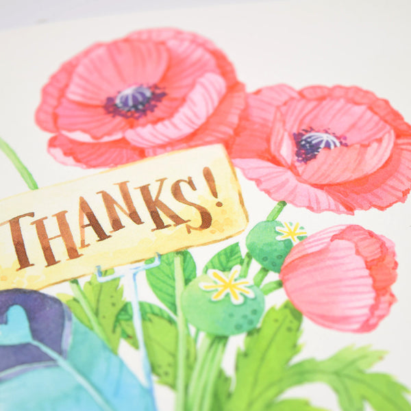 Pink Poppy Thank You Card