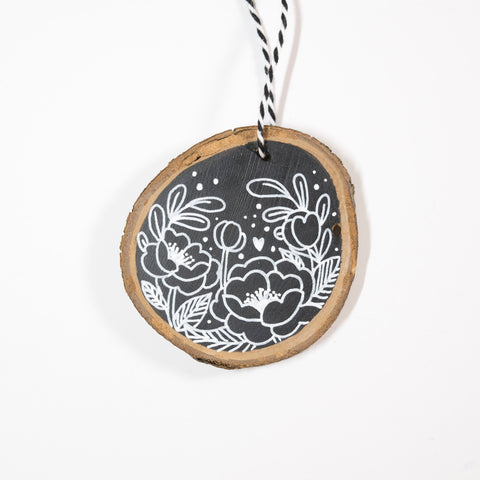 Black & White Florals - Hand Painted Wood Slice Ornament