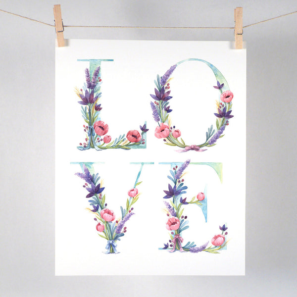 Watercolor Floral Love Art Print