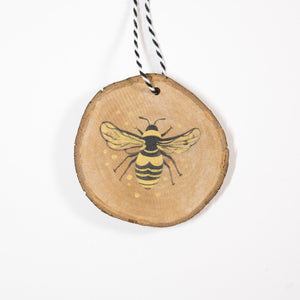 Bumblebee - Hand Painted Wood Slice Ornament