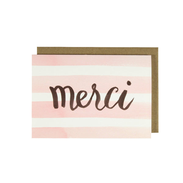 Merci Watercolor Stripes - Thank You Card Set