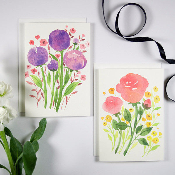 Watercolor Floral Note Card