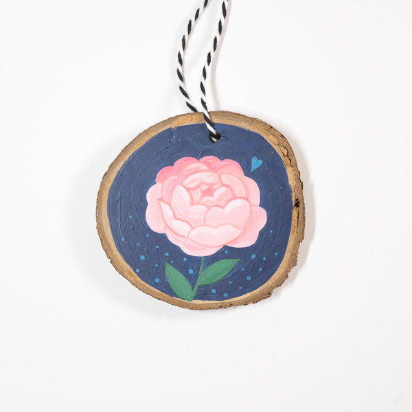 Pink Peony - Hand Painted Wood Slice Ornament