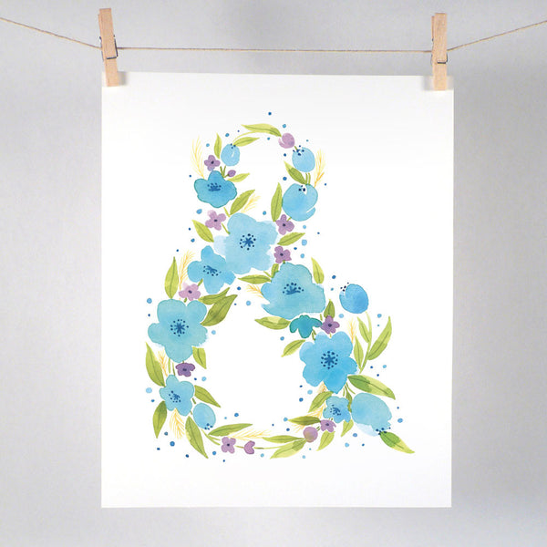 Blue Floral Ampersand - Art Print
