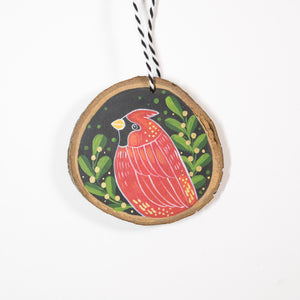 Cardinal - Hand Painted Wood Slice Ornament