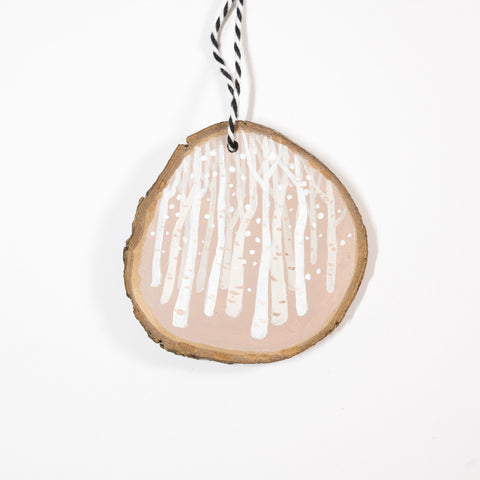 Birch Woods (B) - Hand Painted Wood Slice Ornament