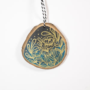 Viridian & Gold Florals - Hand Painted Wood Slice Ornament
