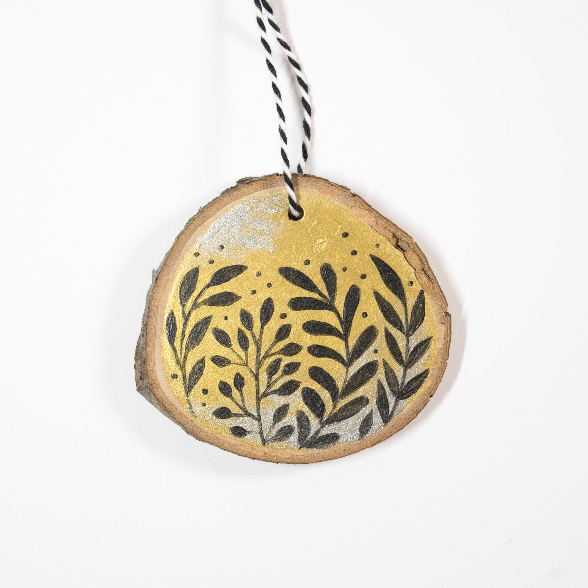 Gold & Silver Leaves - Hand Painted Wood Slice Ornament