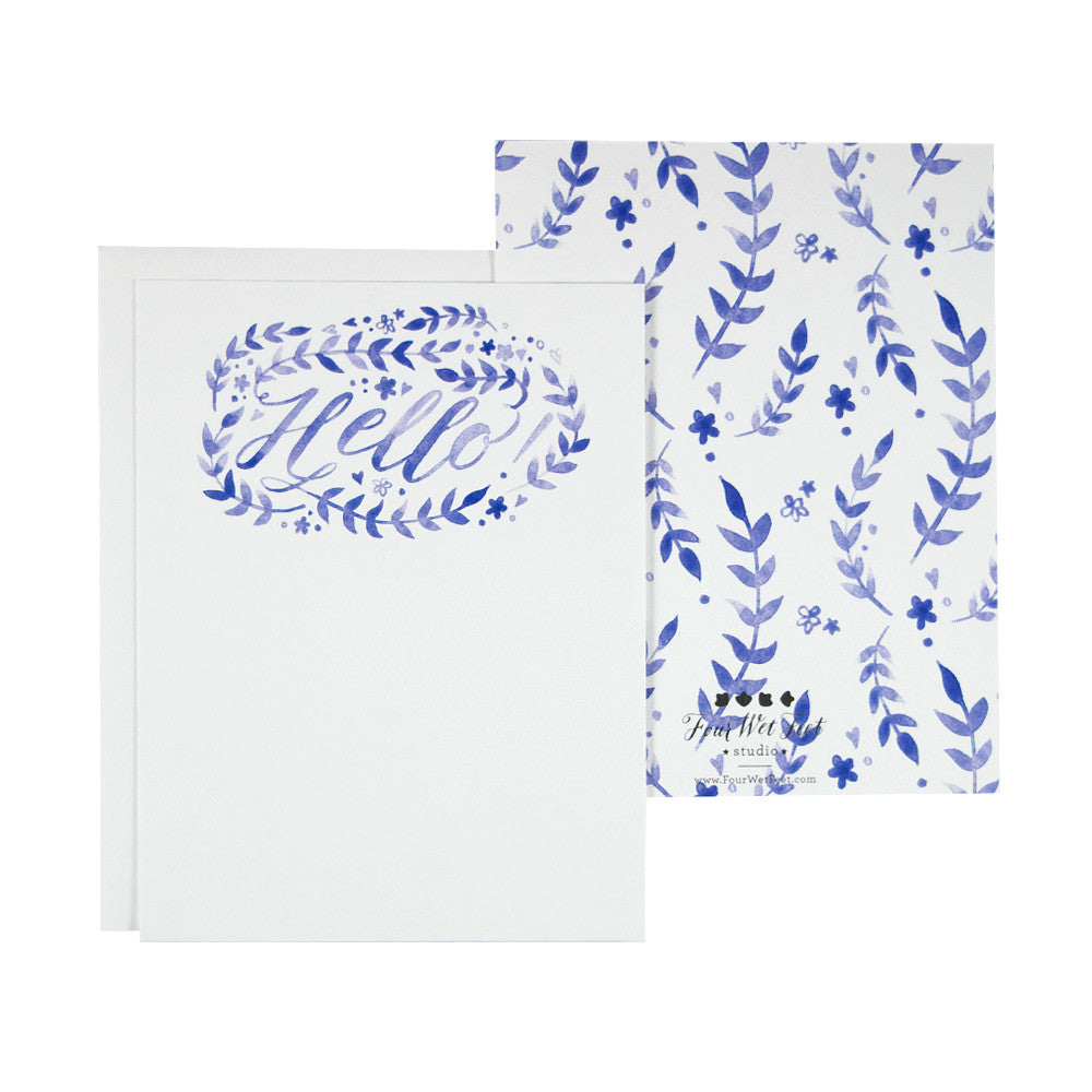 Watercolor Floral Pattern Hello - Stationery Set