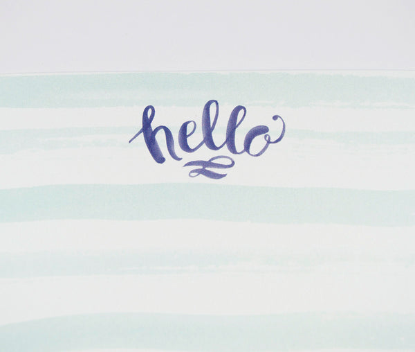 Hello Watercolor Stripes Stationery Set