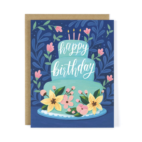 Blue Cake Birthday Greeting Card