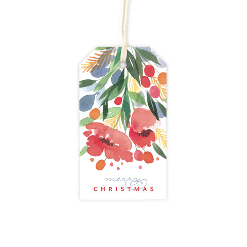Festive Florals Christmas Gift Tag Set