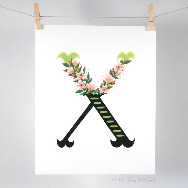 Copy of Floral Alphabet - Letter X - Art Print / Monogram Print
