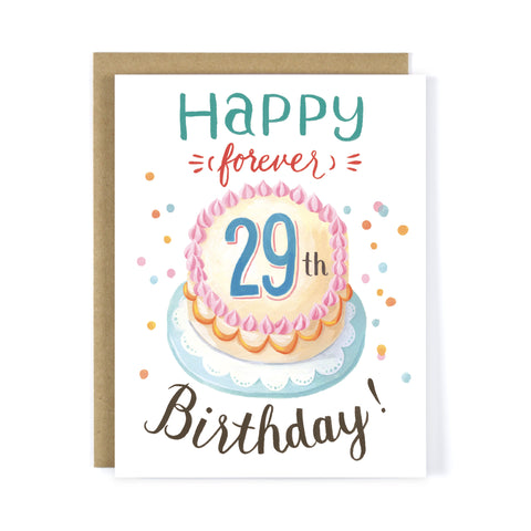 Forever 29 Birthday Greeting Card