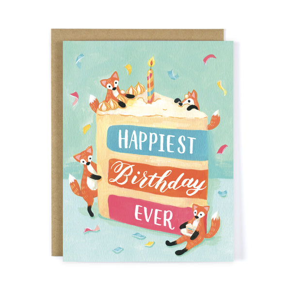 Red Fox Birthday Cake - Birthday Greeting Card