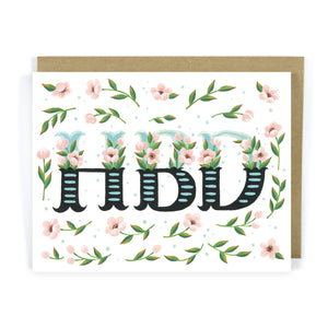 Floral HBD Birthday Greeting Card