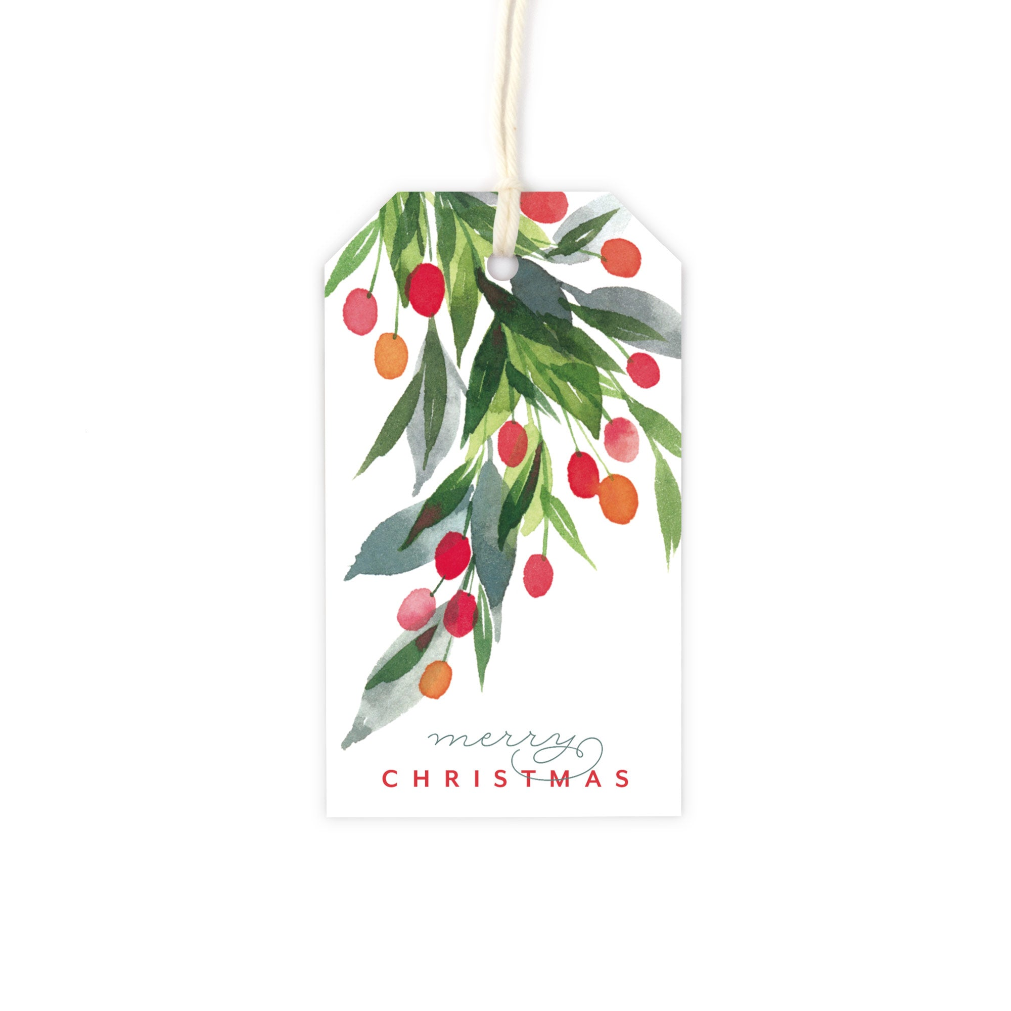 Watercolor Holly Christmas Gift Tag Set