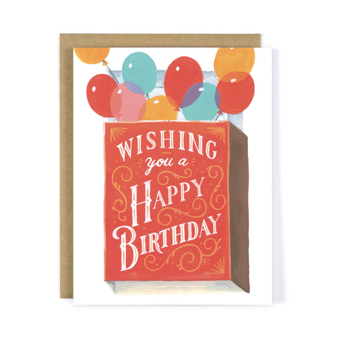 Balloon Matchbox Birthday Greeting Card