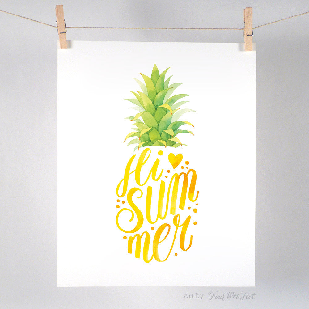 Hi Summer Pineapple - Art Print
