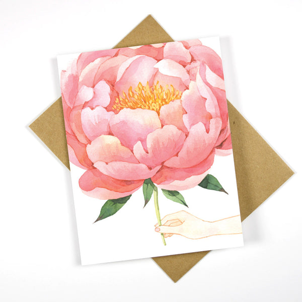 Send You A Pink Peony - Everyday Greeting Card / Blank Card