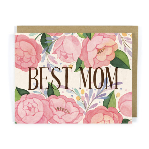 Pink Roses Best Mom - Mother's Day Card
