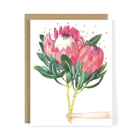 Send You Pink Proteas - Everyday Greeting Card / Blank Card