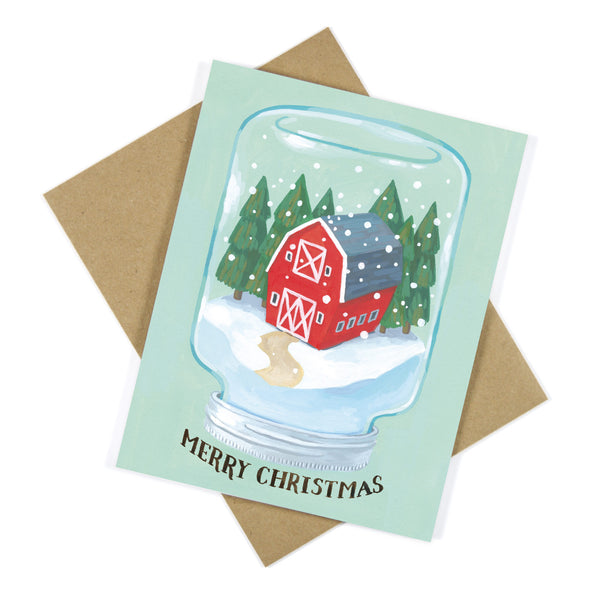 Red Barn Mason Jar Snow Globe