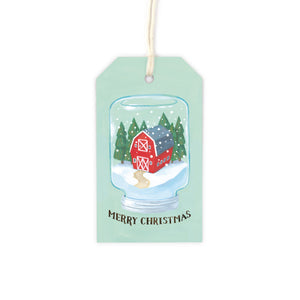 Mason Jar Snow Globe - Red Barn Gift Tag Set