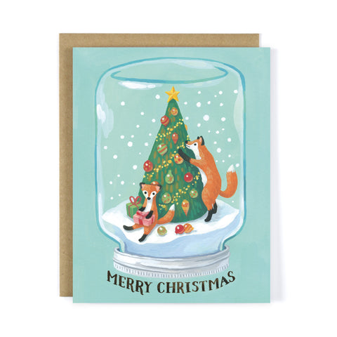 Red Fox Mason Jar Snow Globe