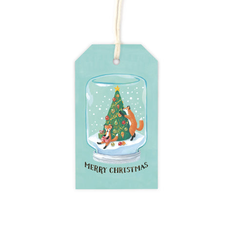 Mason Jar Snow Globe - Red Fox Gift Tag Set