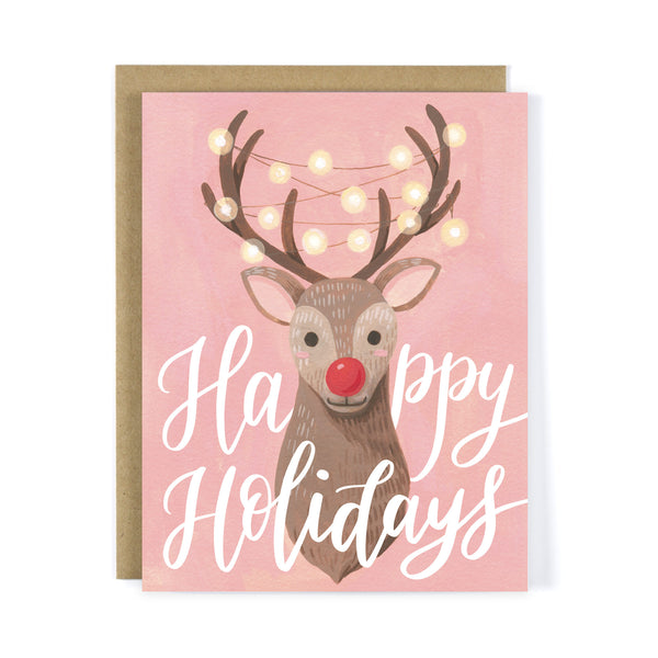 Reindeer with String Lights - Christmas Card