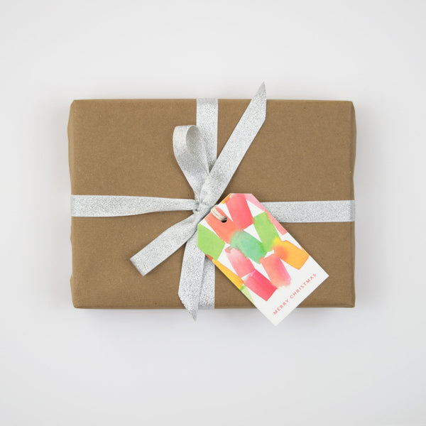 Watercolor Blocks Christmas Gift Tag Set