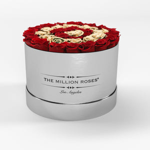 premium round box - mirror-silver (LA)  - the million roses