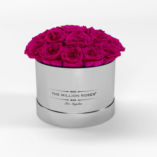 classic round box - mirror-silver - hot-pink GARDEN roses eternity garden roses - the million roses