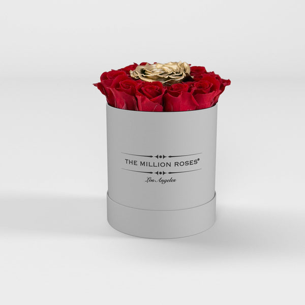 basic round box - white (LA) red mini + 1 gold roses basic round - the million roses