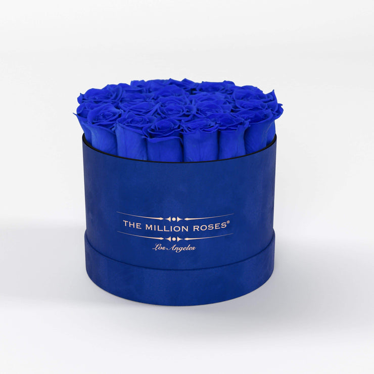 classic round box - royal-blue suede (LA) classic round - the million roses