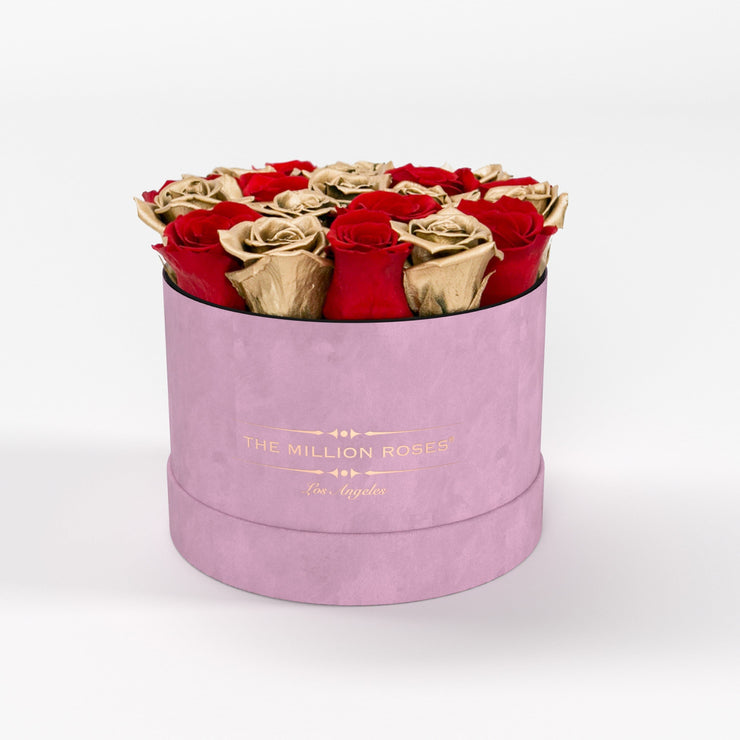 classic round box - light-pink suede (LA) classic round - the million roses