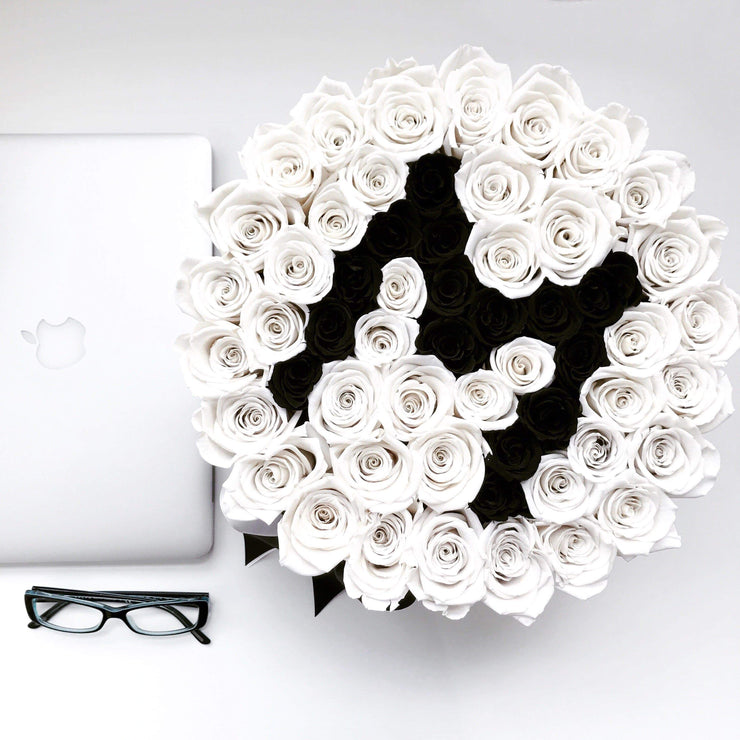 Mother's Day Special Edition - Black Deluxe Box - Off White Roses with black Letter M