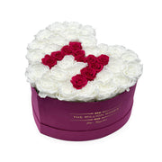 Mother's Day Special Edition - Hot Pink Suede Love Box - White Roses with Hot Pink Letter M