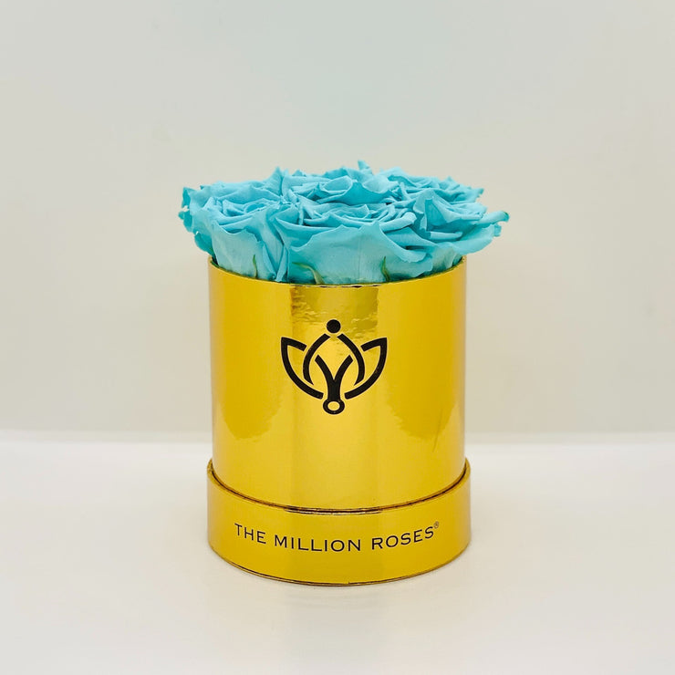 basic round box - mirror-gold - Tiffany blue roses