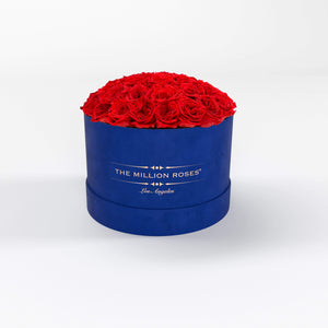 premium round box - royal-blue suede box
