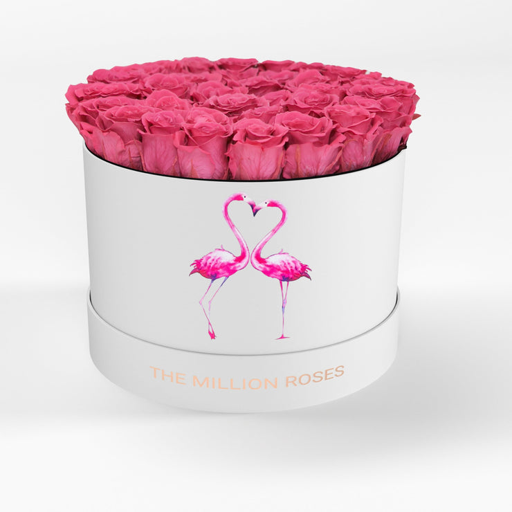 "premium  round box - ""white flamingo"" premium round - the million roses"