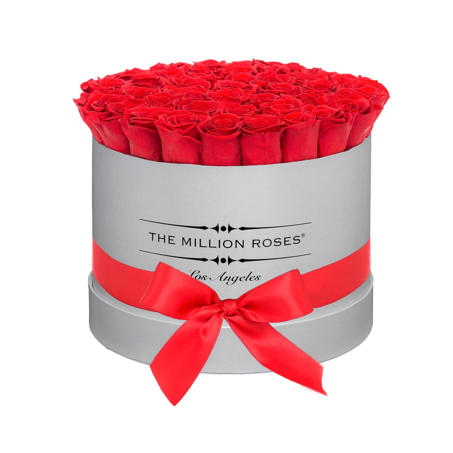 medium round box - gray- bright-red ETERNITY roses