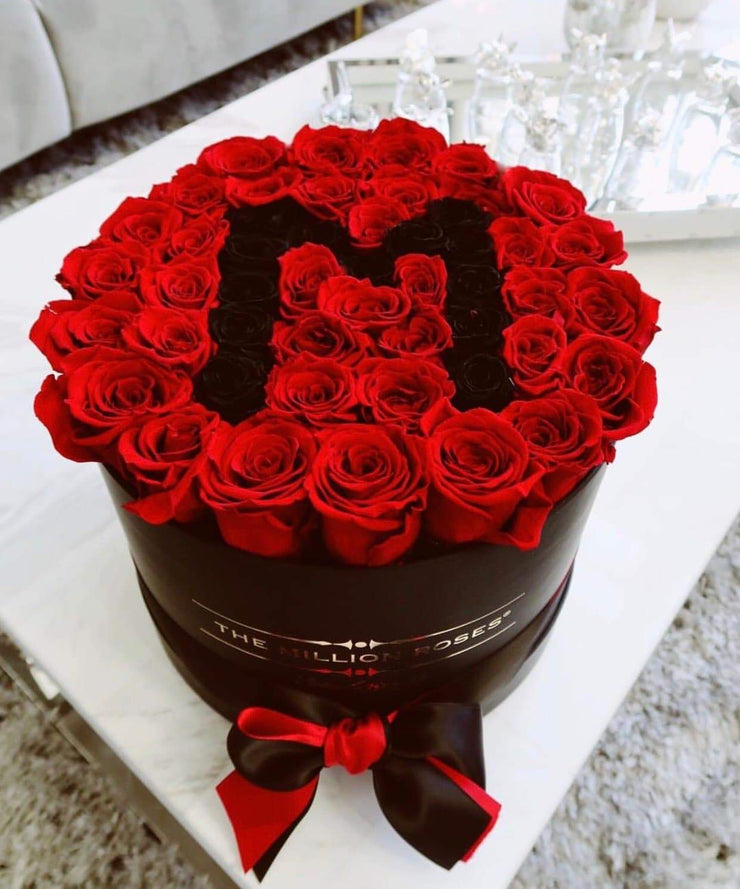 Mother's Day Special Edition - Black Premium Box - Red Roses with black M