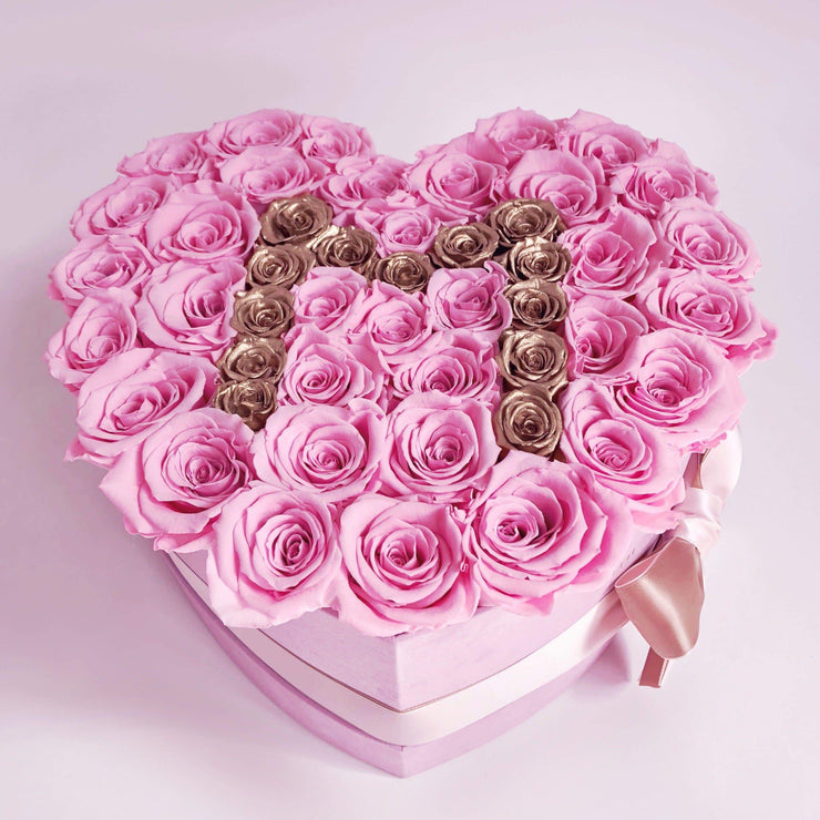 Mother's Day Special Edition - Light-pink suede Love Box - Candy Pink Roses with gold Letter M