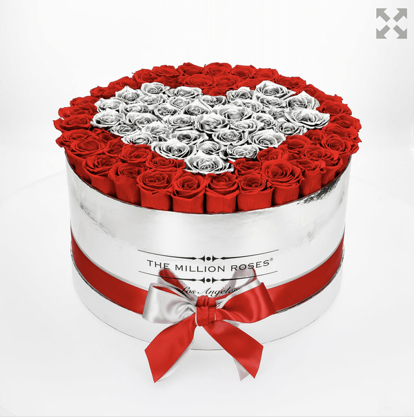 the million LARGE box - mirror-silver - red&silver (heart) ETERNITY roses red eternity roses - the million roses