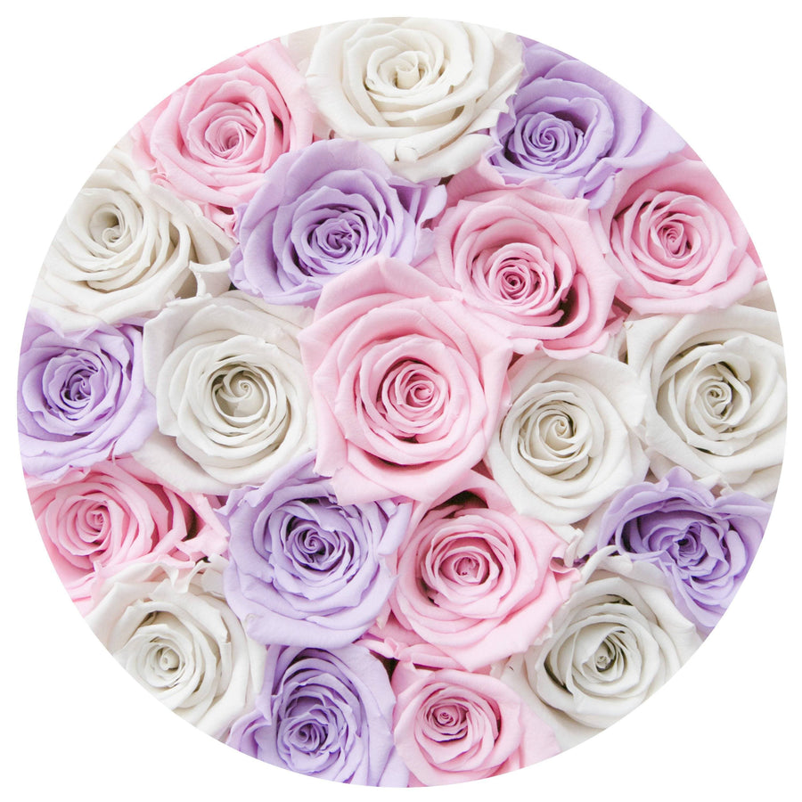small round box - pink - lavender/white/pink ETERNITY roses mixed eternity roses - the million roses